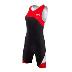 TYR Sport Women's Sport Carbon Zipper Back Short John Skin Suit with Pad (Black/Red, X-Small)