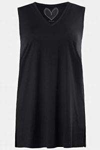 Ulla Popken Femme Grandes Tailles Débardeur Ample, col V, Pur Coton Noir 44/46 531122 10-42+