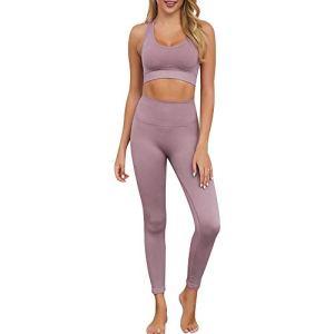 Vertvie 2 Pièces Survêtement Sport Femme Été Fitness Ensemble de Yoga Jogging Soutien-Gorge et Legging Pantalon Skinny Élastique