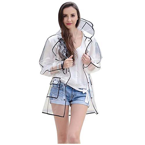 Veste De Pluie Femme Transparente Manteau ImperméAble avec Capuche Poncho De Pluie EVA ImperméAble LéGer Veste Outwear Voyage VêTements De Pluie (Noir, L)