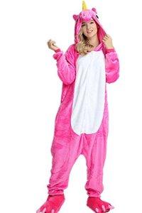 VineCrown Adulte Licorne Pyjama Déguisement Combinaison Costume Grenouillère Nouveauté à Capuche Animal Pyjamas Nuit Vêtements Halloween Carnaval Noël (S for 150CM- 160CM, Rose)