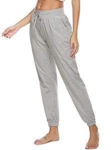 Vlazom Pantalon de Pyjama Femme Long Coton Pantalon de Nuit,Doux et Confortable Bas de Pyjama avec Poches – Style A-gris – XL
