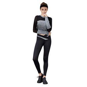 Wangxiaoxia Femmes Yoga Set Survêtement Femmes Jogging Costume Doux À Manches Longues Pantalon 2 Pièce Vêtements Set Sport Sweat Pantalon Fitness Yoga Costumes Parfait pour Le Sport Yoga Gym