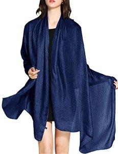 Wedtrend Foulard Châle Echarpe Femme Mariage en Lin Polyester Brillante Cache Bikini Maillot de Bain Plage Cover up, Bleu Marine, M: 190 cm x 80 cm
