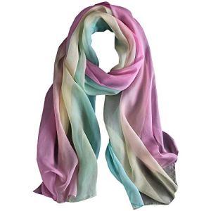 WZTP Foulard Femme en Soie Echarpe Chale Longue Élégant Dégradé Couleur 70,8″ x 27,5″ Meilleur cadeau pour Lady (180cm, Bleu rose frais)