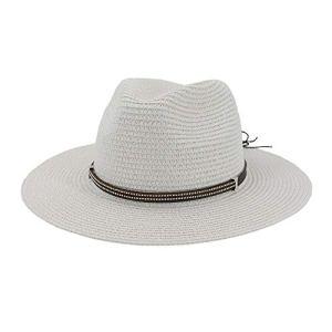 YUQINN Mode Chapeau de Soleil for Femme Chapeau Panama en Paille Chapeau de Seau à Protection Large for Soleil (Couleur : Blanc, Taille : 56-58CM)