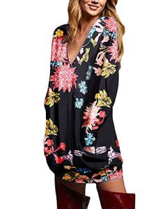 Zanzea Pull Femme Hiver Grand Taille Chemises à Manches Longues Tunique Casual Large Top Haut Sexy Col V 01,Floraux-2,M