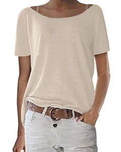 Zanzea Top Femme Eté T Shirt Manche Courte Grande Taille Haut Chic Couleur Unie Tunique Ample Blouse Mode 00-Blanc XXL