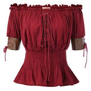 Belle Poque Retro Chemisier Manche Courte Epaules Vintage Blouse Chic Victorienne Gothique Steampunk Vin Rouge M BP581-6