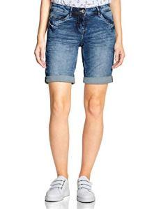 Cecil 372189 Scarlett Shorts, Bleu (Mid Blue Wash 10284), W27 (Taille Fabricant: 27) Femme