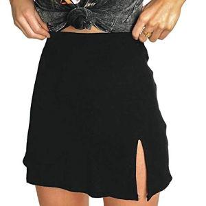 Cossll498 Sexy Femmes D'Été De Couleur Solide Slim Fit Dos Fermeture À Glissière Taille Haute Split Mini Jupe Noir XL