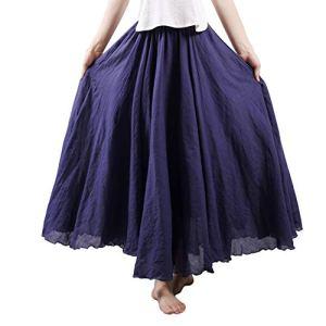 Cossll498 Summer Beach – Jupe unie pour femme – Taille élastique – Coton et lin – Bleu marine – 95 cm