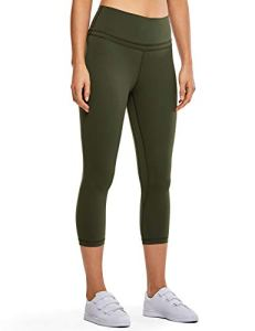 CRZ YOGA Femme Legging de Sport Yoga Pantalons Taille Haute avec Poche 3/4-48cm Olive Noire R418 40