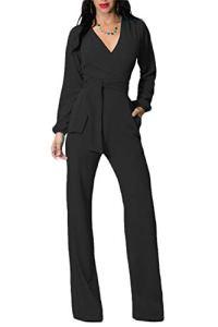 Femmes Combinaisons Élégantes Col en V À Manches Longues Taille Haute Jambes Larges Combinaisons Combinaisons M Noir