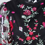 KEERADS- Chemisier Femme Dentelle Col Rond en Maille Transparente Broderie De Fleurs Brodé Tops De Panneaux De Mosaïque Maillot Top Femme élégant