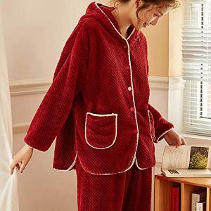 Lisansang Ladies Pyjama Pyjama for Les Femmes 2 pièces Pleine de Vacances Nightgown Ensembles Pantalon Pyjama Ensemble de Nuit molletonné à Capuche en Molleton Confortable (Color : Pink, Size : 170)