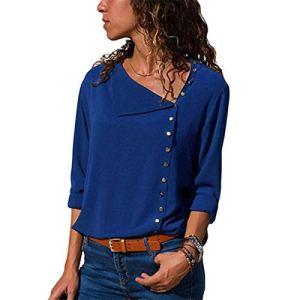 Mode Mousseline de soie Chemisier 2020 Manches Longues Femmes Blouses et Tops Skew Col Solide Chemise de Bureau Casual Tops – Bleu – M