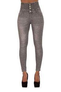 Pantalon Femme Denim Jeans Slim Taille Haute Jean Stretch Pant (38, Gris)