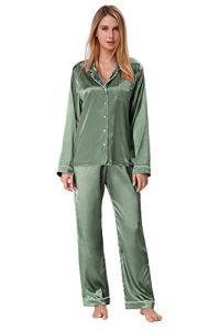 Pyjama en Satin pour Les Femmes à Manches Longues Pjs Button Down PJ Set vêtements de Nuit vêtements de Nuit Vert L