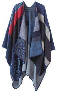 Shmily Girl Femme Cape Poncho Extra Large écharpe Châle Blanket Poncho Automne Hiver (One Size, Leopard/Bleu)