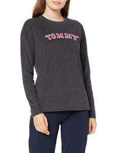Tommy Hilfiger CN Tee Ls Haut De Pyjama, Gris (Grey 091), Small (Taille Fabricant: SM) Femme