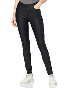 Vero Moda Vmseven NW S.Slim Smooth Pants Pantalon, Noir (Black/Coated), FR: 36 (Taille Fabricant: S/32) Femme