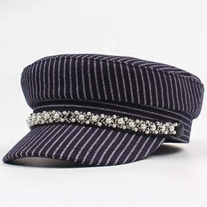 Xa Chapeau pour femme Automne et Hiver Loisirs Cap Mode Sans Savourless Top Bèret Rayures (Couleur : Bleu marine, Taille : réglable)