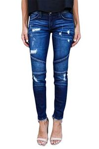 Yidarton Femme Jeans Déchiré Push Up Skinny Slim Fit Stretch Boyfriend Denim Jean Troué Pantalons Jeggings Pants Casual Rétro (Bleu, Large)
