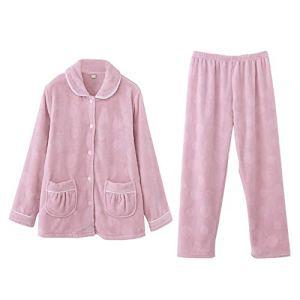 Zavddy-Clothing Pyjama Dames Womens Bouton vers Le Bas de Nuit Loungewear Notte Doux Dames Thermique Molleton Cadeau Parfait pour Les Femmes (Couleur : Rose, Taille : XL)