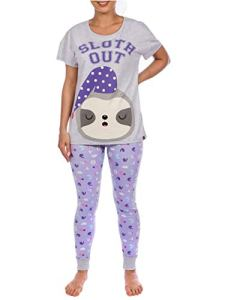 Harry Bear – Ensemble De Pyjamas – Paresseux – Femme – Violet – Small