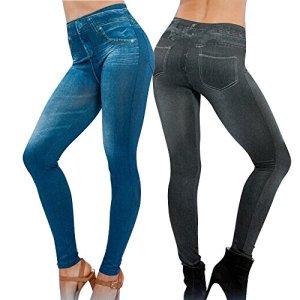 Lot de 2 Leggings Noir + Bleu Femme Jegging Skinny Slim Collant Extensible Push Up Fesse Pantalon de Crayon Cadeau Noël Automne Hiver (L/XL 40/44, Noir+Bleu)