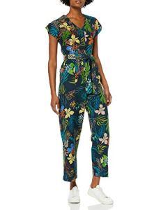 Marque Amazon – find. Combinaison Décontractée en Lin Manches Courtes Femme, Multicolore (Tropical Print), 36, Label: XS