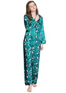Pyjama en satin de soie pour femme – Vert – XXX-Large