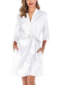 ABirdon Robes de Chambre Kimonos Robes Satin Robes de Chambre Couleur Pure Vêtement de Nuit Sortie de Bain col V avec Dentelle et Ceinture pour la Fête, White, S