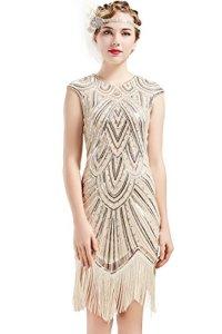 BABEYOND Robe années 1920 style Gatsby le Magnifique avec perles et franges – Beige – Taille 36/38 FR Small