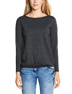 Cecil 313993 Marlena T-Shirt À Manches Longues, Multicolore (Black 20001), X-Small Femme