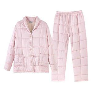 EXCLVEA Pyjama Set à Manches Longues de Nuit Bouton 3 Couches de Nuit des Femmes matelassée épais 2 pièces Pleine d'air Chaud Couche Observe Les Pyjama Confort Femme (Couleur : Rose, Taille : 160)