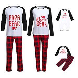 Hunpta@ Parent-Enfant VêTements Pyjama De Noel Homme Femme Enfant,Femmes Maman Plaid Blouse Pantalons Pyjamas de la Famille Vêtements de Nuit Assortis Ensemble de Noël