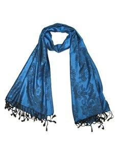 LOVARZI Féminine Écharpe florale Bleu – Echarpe Pashmina Femme – Foulards d'hiver pour femmes