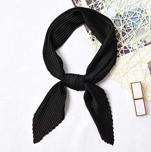 MINMINA Foulard carré pour Les Femmes, Les Femmes Bandana, Mode Haute qualité Multifonction Smooth55 * 55cm,Noir
