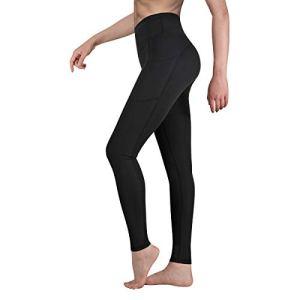 Occffy Legging de Sport Femme Pantalon de Yoga avec Poches Yoga Fitness Gym Jogging Taille Haute Leggings pour Femmes P107 (Noir, L)