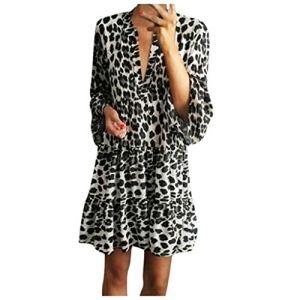 Robe ete Femme Chic été 3/4 Manches Sexy Col V Léopard Imprimée Confortable Mi-Longue Robe Chic Decontractée Mode Vintage Midi Dress Robe de Vacances Casual Vrac Solide Robe