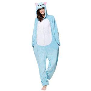 SLDAGe Romper Pajamas Animaux,Chat Bleu Dessin Animé Supersoft Flanelle Costume Pyjamas Adultes Femmes Hommes Cosplay Halloween Homewear,M