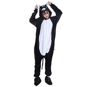 SLDAGe Romper Pajamas Animaux,Chat Noir Dessin Animé Supersoft Flanelle Costume Pyjamas Adultes Femmes Hommes Cosplay Halloween Homewear,M