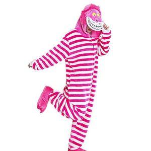 SLDAGe Romper Pajamas Animaux,Chat Rayé Dessin Animé Supersoft Flanelle Costume Pyjamas Adultes Femmes Hommes Cosplay Halloween Homewear,M