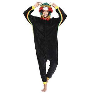 SLDAGe Romper Pajamas Animaux,Couleur Fourrure Lion Dessin Animé Supersoft Flanelle Costume Pyjamas Adultes Femmes Hommes Cosplay Halloween Homewear,S