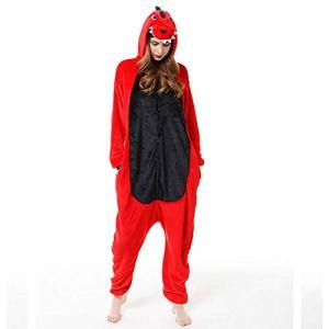 SLDAGe Romper Pajamas Animaux,Dinosaure Rouge Dessin Animé Supersoft Flanelle Costume Pyjamas Adultes Femmes Hommes Cosplay Halloween Homewear,S