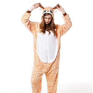 SLDAGe Romper Pajamas Animaux,Fawn Animal Dessin Animé Supersoft Flanelle Costume Pyjamas Adultes Femmes Hommes Cosplay Halloween Homewear,M