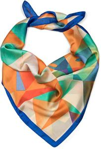 styleBREAKER Foulard carré pour femmes avec imprimé géométrique cerf, tissu, fichu, mouchoir de tête, bandana 01016192, couleur:Bleu-Orange-Vert