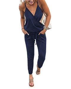 Walant Mode Femmes Combinaison Dos Nu sans Manches Col V Imprimé Floral Camisole Barboteuse Jumpsuit D'été Chic Élégant Slim Pantalon Loose Casual, Bleu Marine, S